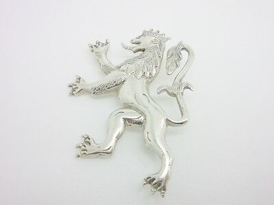 Vintage 800 Solid Silver Crowned Rampant Lion Large Heavy Brooch - Signed GS/SG