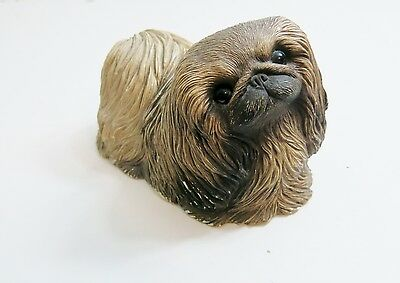 Vintage 1984 Sandicast Pekingese Hand Painted Dog Sculpture Figurine 8 1/4""