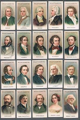 1912 Wills's Cigarettes Musical Celebrities Tobacco Cards Complete Set of 50
