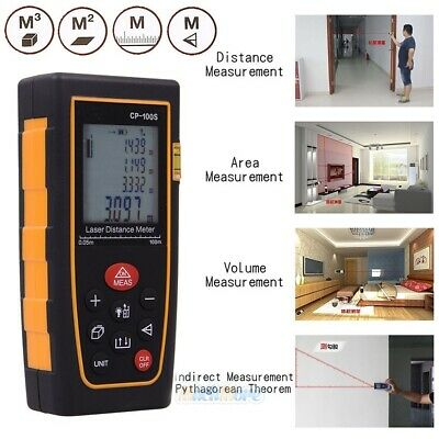 100m/328ft Digital Laser Distance Meter Range Finder Measure Tape Diastimeter US