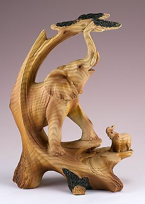 Elephants Carved Wood Look Figurine Resin 7 Inch High New In Box