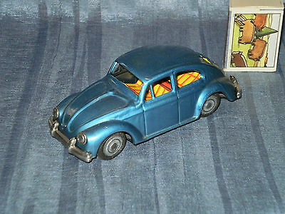 "Vintage Small 5.5"" Tin Vw Beetle Metalic Blue Friction Powered Made In Japan"