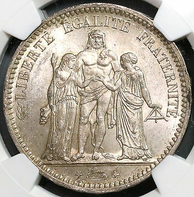 1873-A NGC MS 63  FRANCE BU Silver 5 Francs HERCULES Group Coin (16020302D)