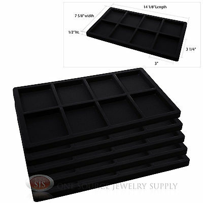 5 Insert Tray Liners Black  W/ 8 Compartments Drawer Organizer Jewelry Displays