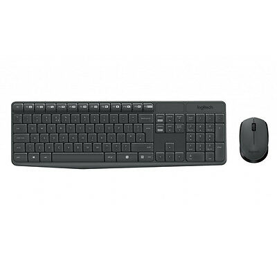 New Genuine Logitech MK235 Wireless Keyboard & Mouse Set - Black