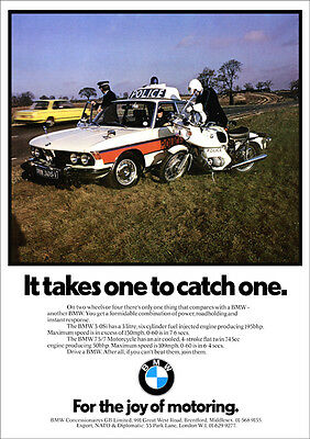 BMW E3 3.0 Si & 2002 &BMW 75/7 MOTORCYCLE RETRO A3 POSTER PRINT FROM70'S ADVERT
