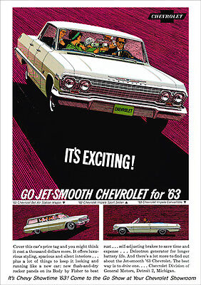 Chevrolet 63 Impala Range Retro A3 Poster Print From Classic Advert 1963