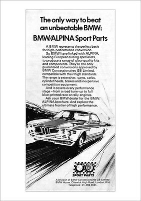 Bmw E9 2800 Cs Coupe Alpina Racer Retro A3 Poster Print From Classic Advert