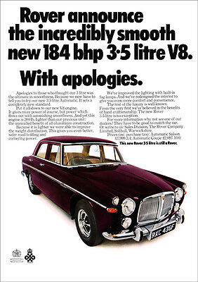 ROVER P5B V8 3.5 LITRE RETRO A3 POSTER PRINT FROM CLASSIC 60's ADVERT