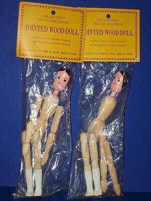 "Pair of 8"" Shackman Jointed Wood Dolls Antique Replica MIP! Taiwan 1962-on"
