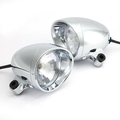 "2x 4"" Chrome Motorcycle Bullet Front Headlight Fog Light Lamp for Harley"
