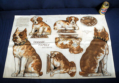 Antique 1913 Saalfield Printed Linen Cloth Uncut Sheet Stuffed Toy Dog Cut Outs