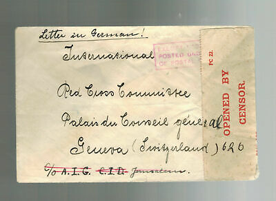 1940 Palestine Police Force HQ Cover to Red Cross Switzerland German Detainee