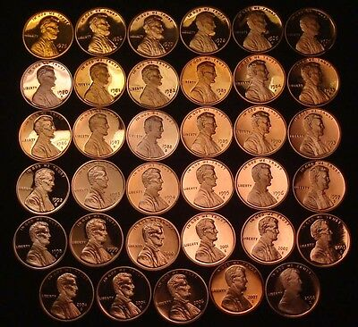 1975 S to 2008 S Lincoln Memorial Cent Set - 35 Coins - Proof Only Issue