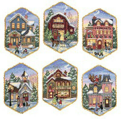 "5"" Long 18 Count Gold Collection Christmas Village Ornaments Counted Cross St"