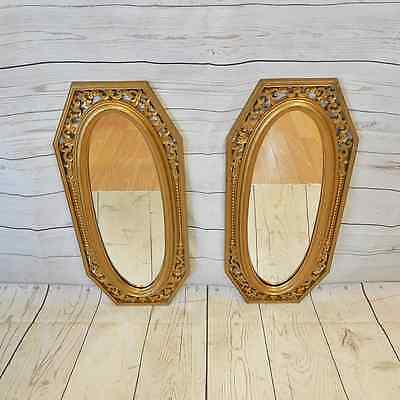 """Pair of Vtg Dart Ind. 22"""" Gold Ornate Wall Mirrors - Hollywood Regency Style"""