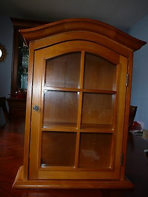 Wood & Glass Curio Cabinet Display Cabinet Wall Hanger Perfume Miniatures