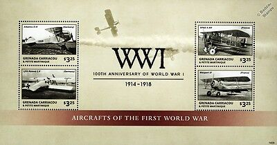 WWI 1914-1918 Aircraft of the First World War Stamp Sheet (2014 Grenada)