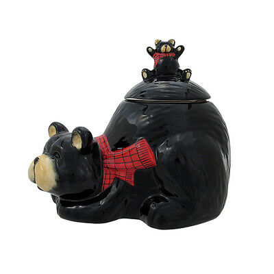 Scratch & Dent Black Bear Mother And Cub Ceramic Cookie Jar