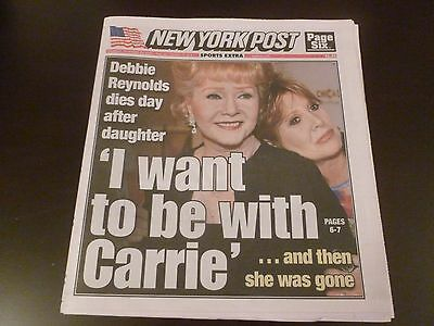 Ny Post Newspaper Debbie Reynolds Dies Day After Daughter Carrie Fisher