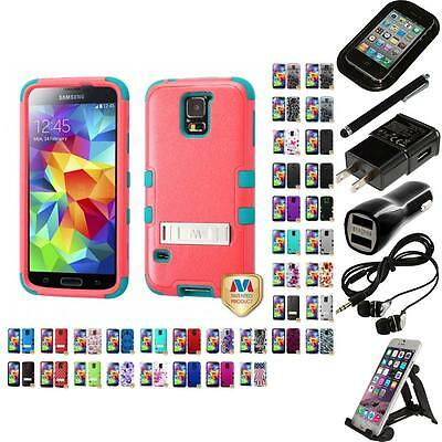 For Samsung Galaxy S5 Hybrid TUFF IMPACT Phone Case Hard Rugged Cover Bundle
