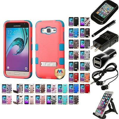 For Samsung Galaxy J3 Hybrid TUFF IMPACT Phone Case Hard Rugged Cover Bundle