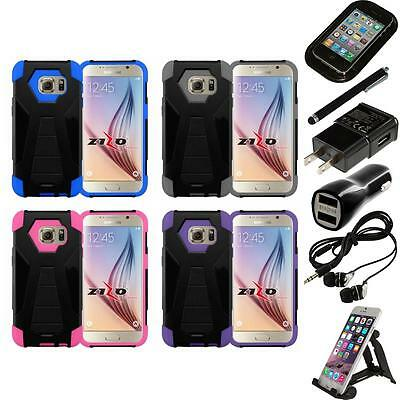 For Samsung Galaxy S7 Dual Layer Hard Soft Kickstand Case Phone Cover Bundle