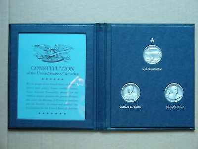 1974 Democracy In Action Sterling Silver 3-Medal Set, Danbury Mint