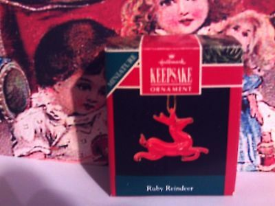 Ruby Reindeer`1990`Miniature-Blown Glass,Hallmark Christmas Ornament- Very Nice