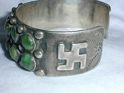 Rare! Old Pawn Sterling All Turquoise Whirling Logs Bracelet!