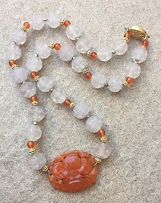 Antique Chinese Carnelian Agate Pendant Carved Quartz Shou Dragon Bead Necklace