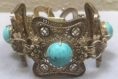 Antique  Chinese Gilt Silver Filigree Turquoise Dragon Bracelet