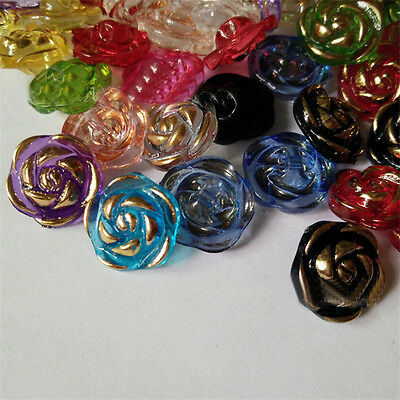 100pcs Acrylic Rose Buttons  Mixed Color Flower Pattern Clear Clothing Crafts