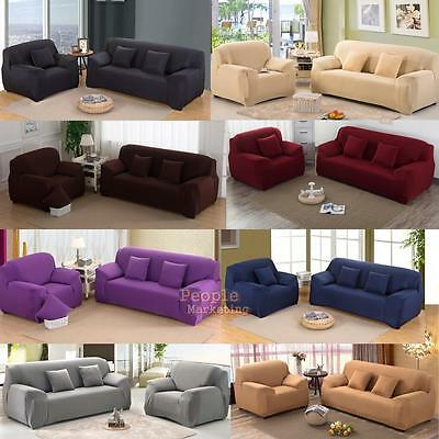 Micro Suede Slipcover Stretchable Pure Color Sofa Loveseat Chair Washable Covers