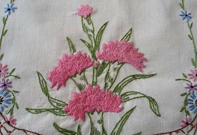 Vintage Ecru Embroidered Table Runner Pink Carnation Flowers Crochet Lace 39""