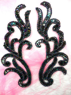 """Appliques Black AB Mirror Pair Sequin Beaded Dance Sewing Patch Motifs 9"""" (0170)"""