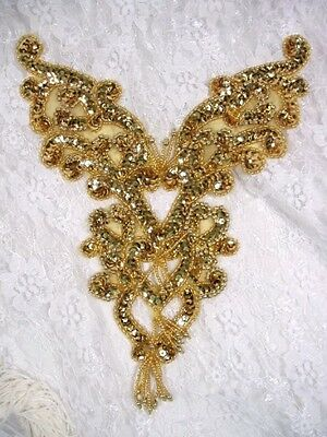 """0035 ~ Gold Bodice Yoke Beaded Sequin Applique Patch  8.5"""" Sewing Crafts Motif"""