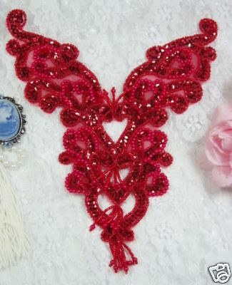 """0035 ~ RED BODICE YOKE SEQUIN BEADED APPLIQUE Sewing Crafts Motif Pageant 8.5"""""""