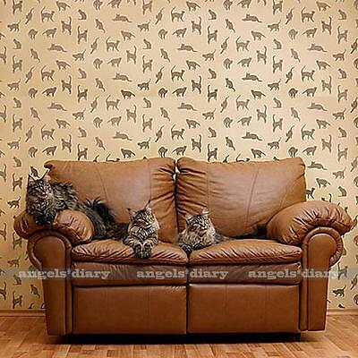 Large Reusable Wall Stencil Cute Cat Pattern Allover Stencils DIY Crafts