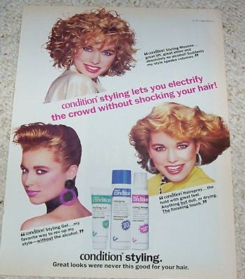 1988 vintage ad - Clairol Condition hair styling CUTE GIRL print AD