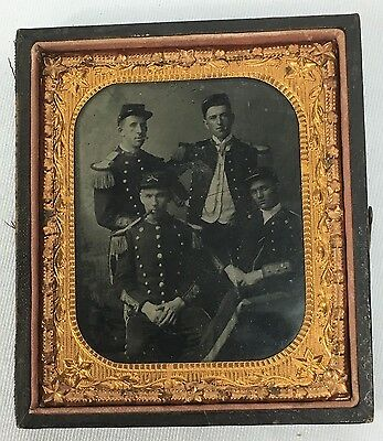 Vintage US Army Officers Ambrotype Portrait Group Photo - Civil War? Indian War?