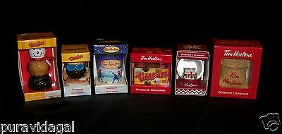 Set of 6 Tim Hortons Coffee CHRISTMAS HOLIDAY Ornaments ~  2016 New + Assorted