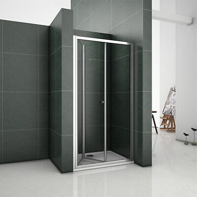 Aica Frameless Bifold Shower Enclosure & Tray Walk In Glass Door Screen Cubicle