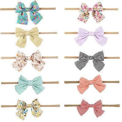 1PC Baby Girls Headband Cotton Bow Knot Printed Floral/Dots/Striped Accessories