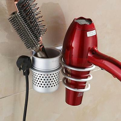 Wall Mounted Stand Hair Dryer Drier Comb Holder Rack Stand Storage Organizer