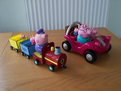 Peppa Pig Gradads Train And Grandads Musical Car Both With Figures