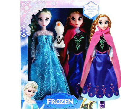 Frozen Dolls New 3Pcs Elsa & Anna Olaf Toy Doll Barbie Figure Set Playset 12""
