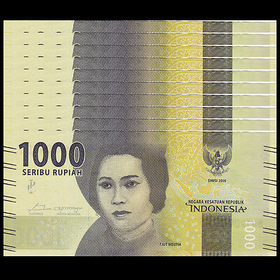 Lot 10 PCS, Indonesia 1000 Rupiah, 2016/2017, P-NEW, UNC>New Design