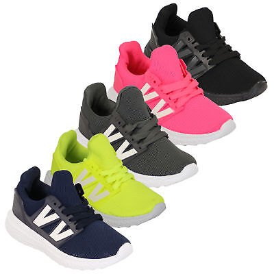 Girls Boys Trainers Kids Unisex Shoes Jogging Lace Up Walking Sports Gym Mesh