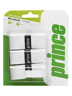 3 Prince Microzorb Grips/Overgrips - White - Free P&P